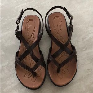 Born of Concept Brown Strappy Velcro Strap Sandals